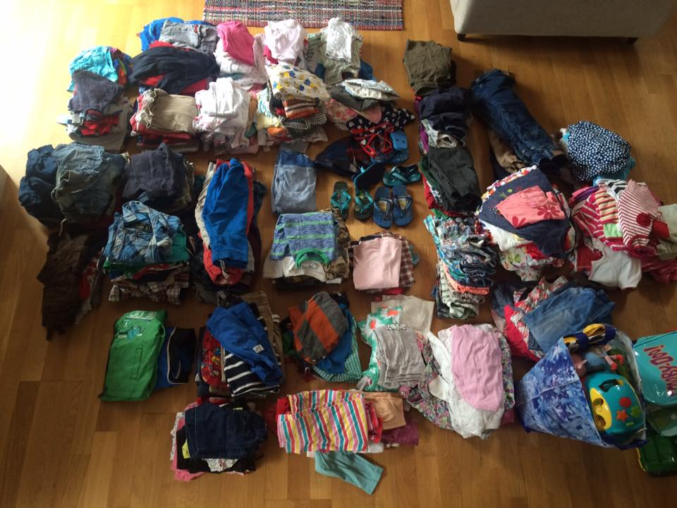 Collecting clothes to send