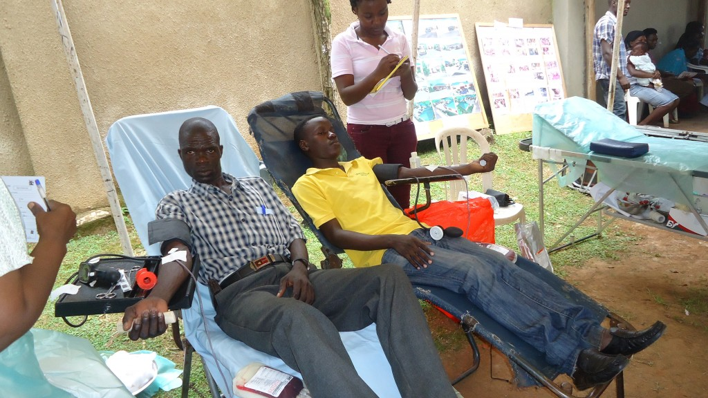 Donating blood at the health centre
