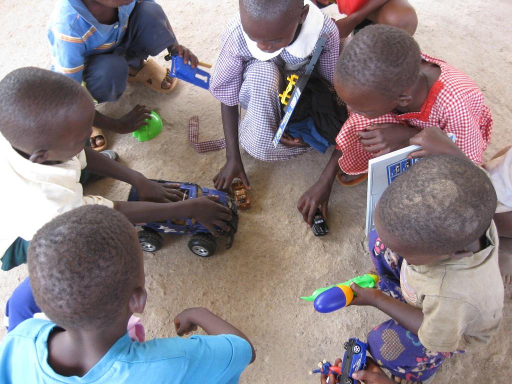 Children receive new toys